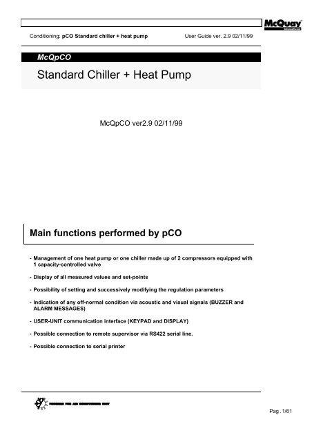 mCq pCO - Standard + Heat Pump - McQuay