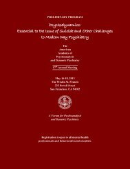 Preliminary Program - The American Academy of Psychoanalysis ...