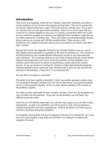 Algebra/Trig Review - Pauls Online Math Notes - Lamar University