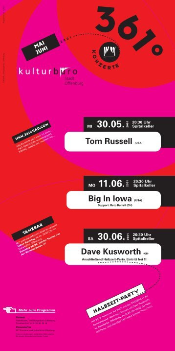 Dave Kusworth (GB) Big In Iowa (USA) Tom Russell ... - Spitalkeller