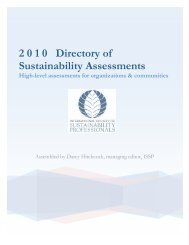 2 0 1 0 Directory of Sustainability Assessments - International ...
