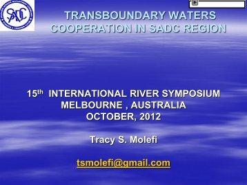 Transboundary water cooperation in SADC region - International ...