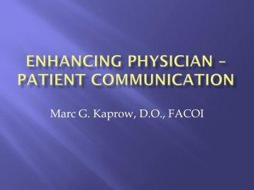 Enhancing Physician – Patient Communication