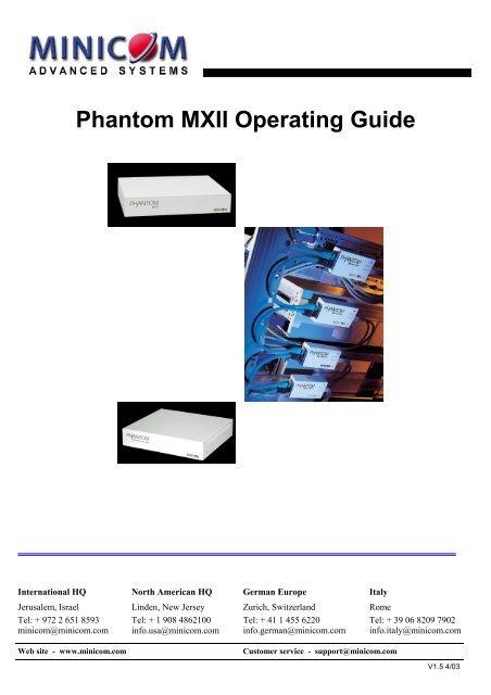 Phantom MXII Operating Guide - Version 1 5 - Minicom