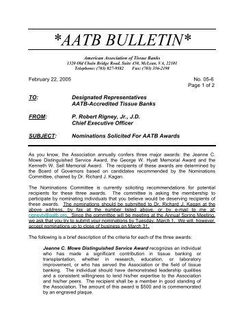 AATB FAX BULLETIN * - American Association of Tissue Banks