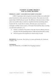 CLEMSON ALGEBRA PROJECT UNIT 14: CONIC SECTIONS - Casio