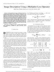 Image Description Using a Multiplier-Less Operator - Bilkent University