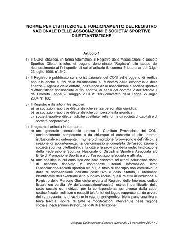 Norme per iscrizione al registro A.S.S.D. - Corpo Nazionale dei Vigili ...
