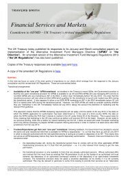 UK Treasury's revised implementing Regulations - Travers Smith
