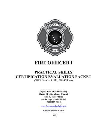 Fire Officer I Skill Sheets - Alaska Department of Public Safety