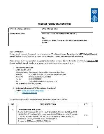REQUEST FOR QUOTATION (RFQ) - UNDP