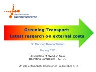External costs of transport - The 12th UIC Sustainability Conference