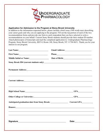 Application for Admission to the Program at Stony Brook University ...
