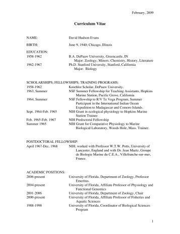 Curriculum Vitae - Department of Biology - University of Florida