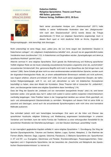 Hubertus Halbfas: Religiöse Sprachlehre. Theorie und Praxis 400 ...
