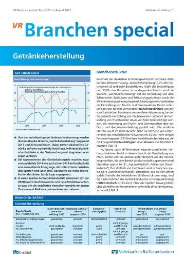 Branchen Special Nr. 6: Getränkeherstellung - Volksbank Stuttgart eG