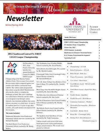 Summer Fall 2012 Newsletter - Saint Francis University