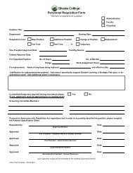 Personnel Requisition Form - Shasta College
