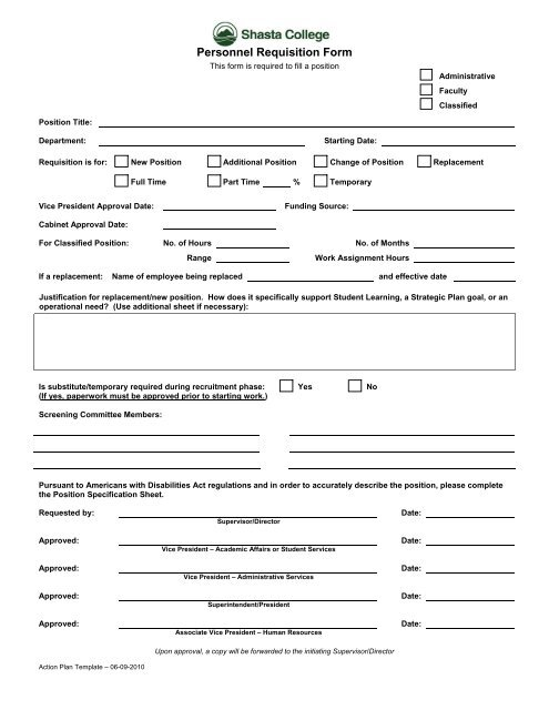 Personnel Requisition Form - Shasta College