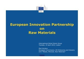 European Innovation Partnership on Raw Materials - International ...