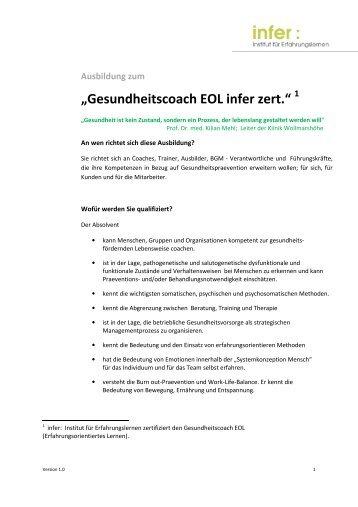 2012-03-01 Gesundheitscoach EOL infer zert Ausschreibung ...
