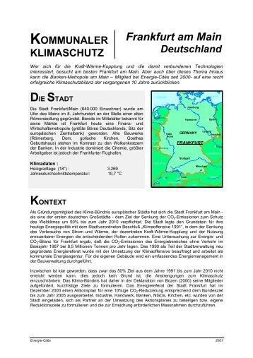 KOMMUNALER KLIMASCHUTZ Frankfurt am Main Deutschland