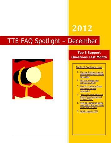 TTE FAQ Spotlight – December - State Accounting Office