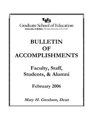 bulletin of accomplishments - UB Graduate School of Education ...