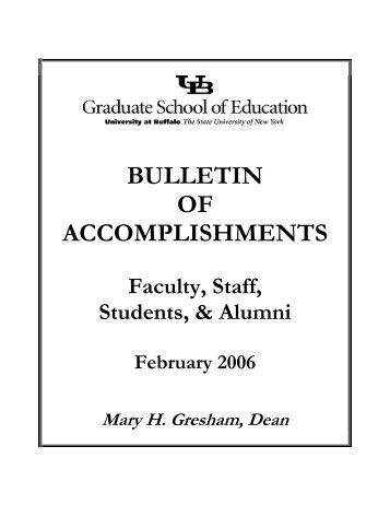 bulletin of accomplishments - UB Graduate School of Education ...