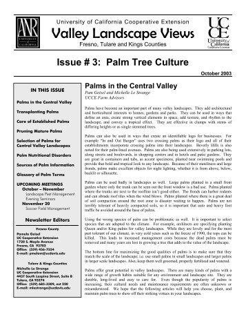 Palm Tree Culture - Merced County - University of California ...