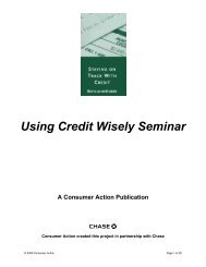Using Credit Wisely Seminar - Consumer Action