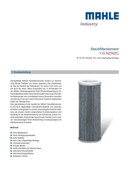 Staubfilterelement 115 NZ/NZC - MAHLE Industry - Filtration