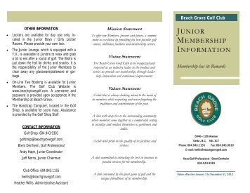 JR Brochure 2012 v2 - Beach Grove Golf Club