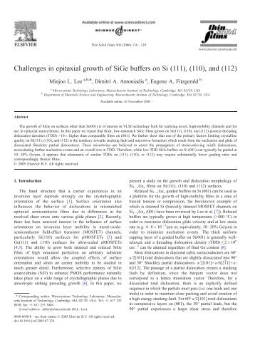 Challenges in epitaxial growth of SiGe buffers on Si (111), (110 ...