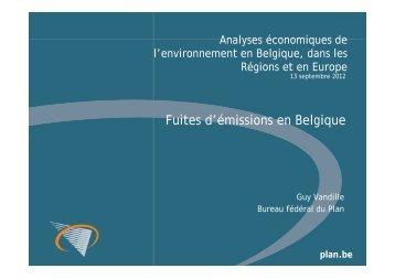 Fuites d'émissions en Belgique - Bureau fédéral du Plan
