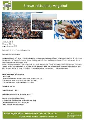Aktuelles Angebot: Oktoberfest 2012