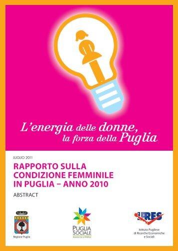 rapporto sulla condizione femminile in puglia - Pari Opportunità ...