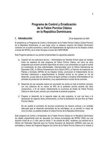 Programa de Control y Erradicación de la Fiebre Porcina ... - Caribvet