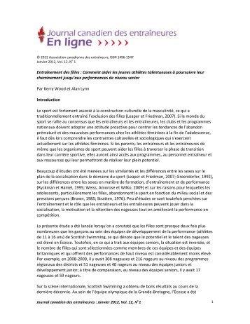 Canadian Journal for Women in Coaching - Coaching Association of ...