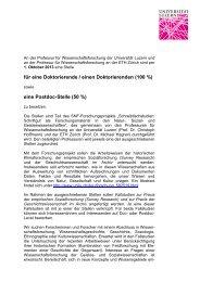 eine Postdoc-Stelle (50 %) - Zentrum Geschichte des Wissens - ETH ...