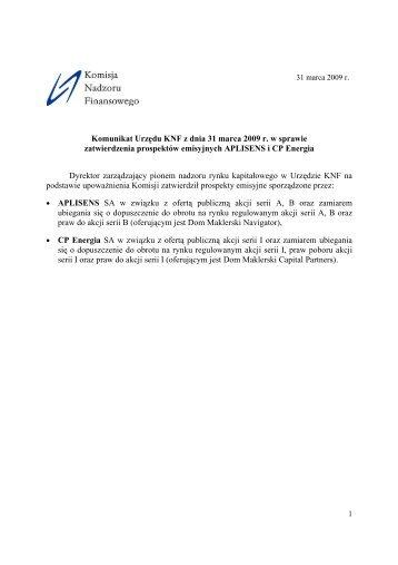 Komunikat Urzędu KNF z dnia 31 marca 2009 r. w sprawie ...