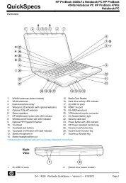 HP ProBook 4440s/1s Notebook PC HP ProBook 4540s Notebook ...