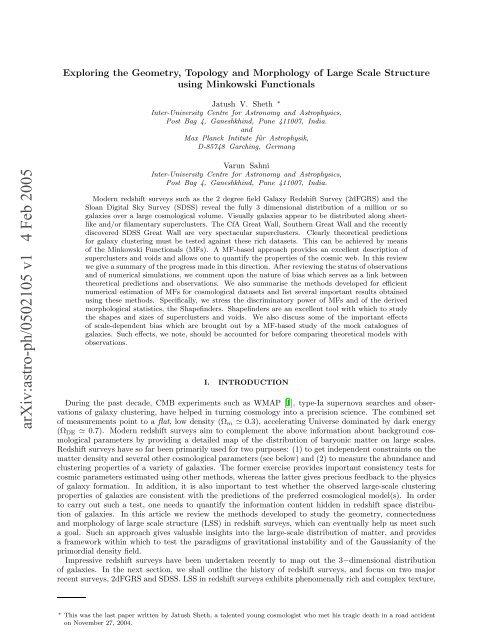 arXiv:astro-ph/0502105 v1 4 Feb 2005 - iucaa