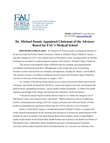 Dr. Michael Dennis Appointed Chairman of the Advisory Board for ...