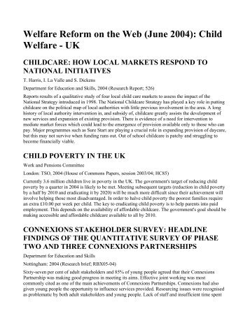 Welfare Reform on the Web - Families Link International