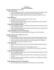 Kindergarten Common Core Standards READING STANDARDS ...