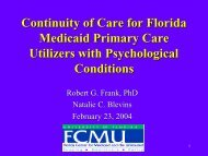 Continuity of Care for Florida Medicaid Primary Care Utilization with ...