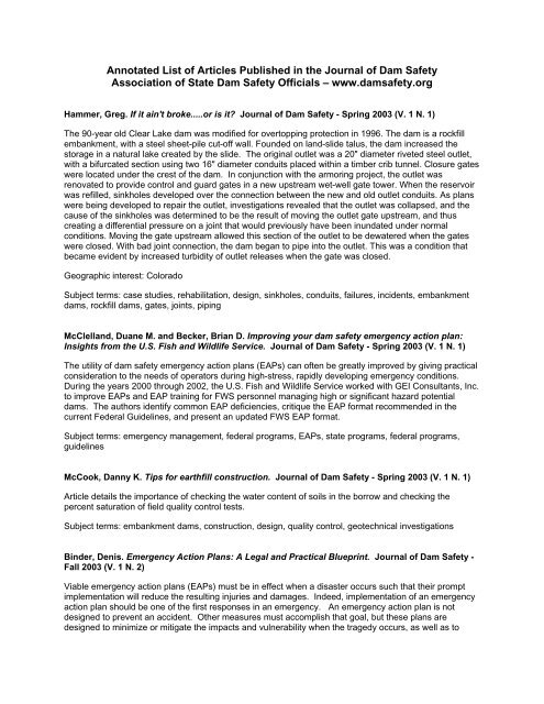 Annotated List of Articles Published in the Journal of Dam Safety ...