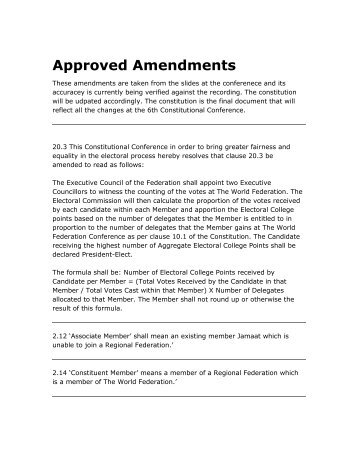 Approved Amendments - The World Federation of KSIMC
