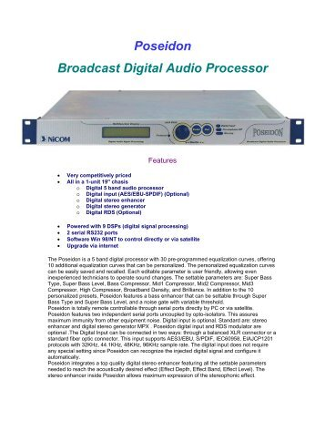 Poseidon Broadcast Digital Audio Processor - Oakwood Broadcast